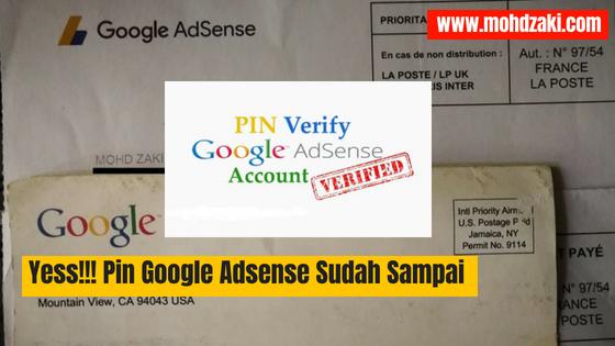 Yess!!! Verify Pin Google Adsense Sudah Sampai